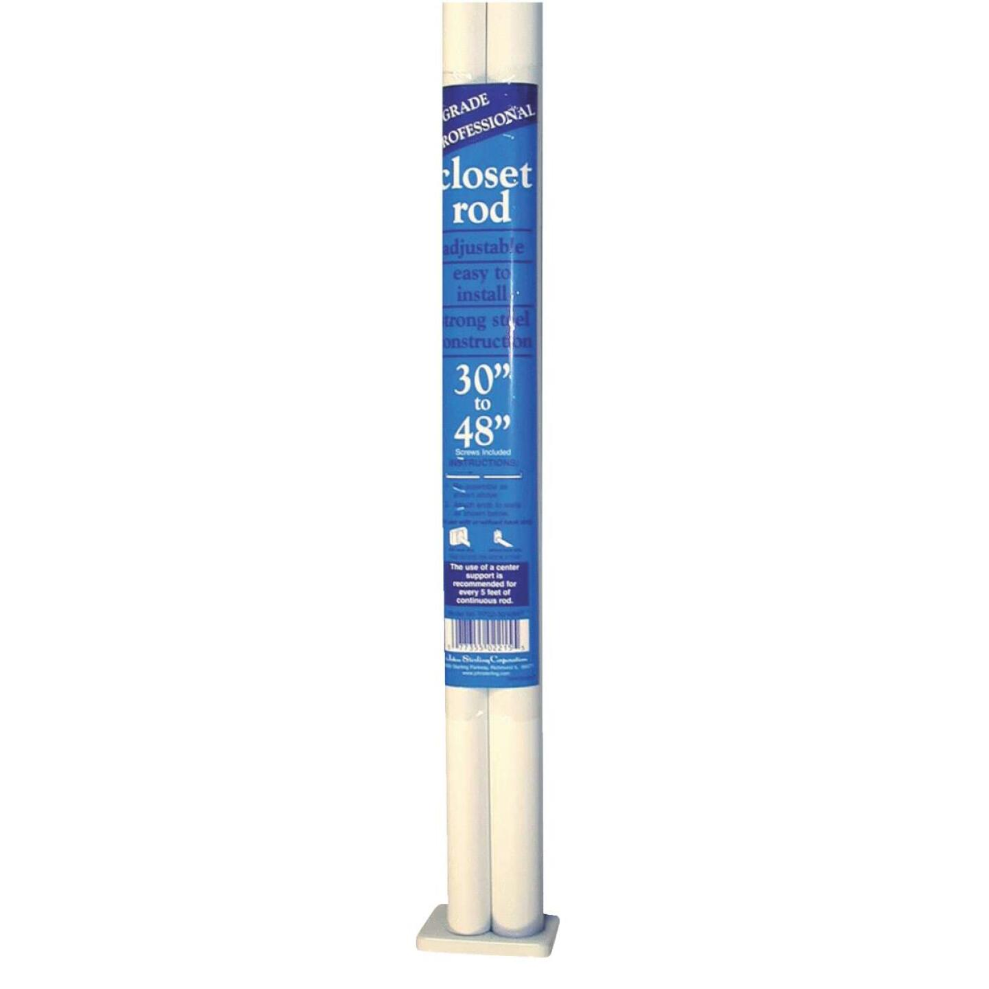 John Sterling Closet-Pro 30 In. to 48 In. x 1 In. Adjustable Closet Rod, White Image 1