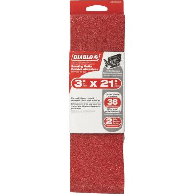 Diablo 3 In. x 21 In. 36 Grit General Purpose Sanding Belt (2-Pack)