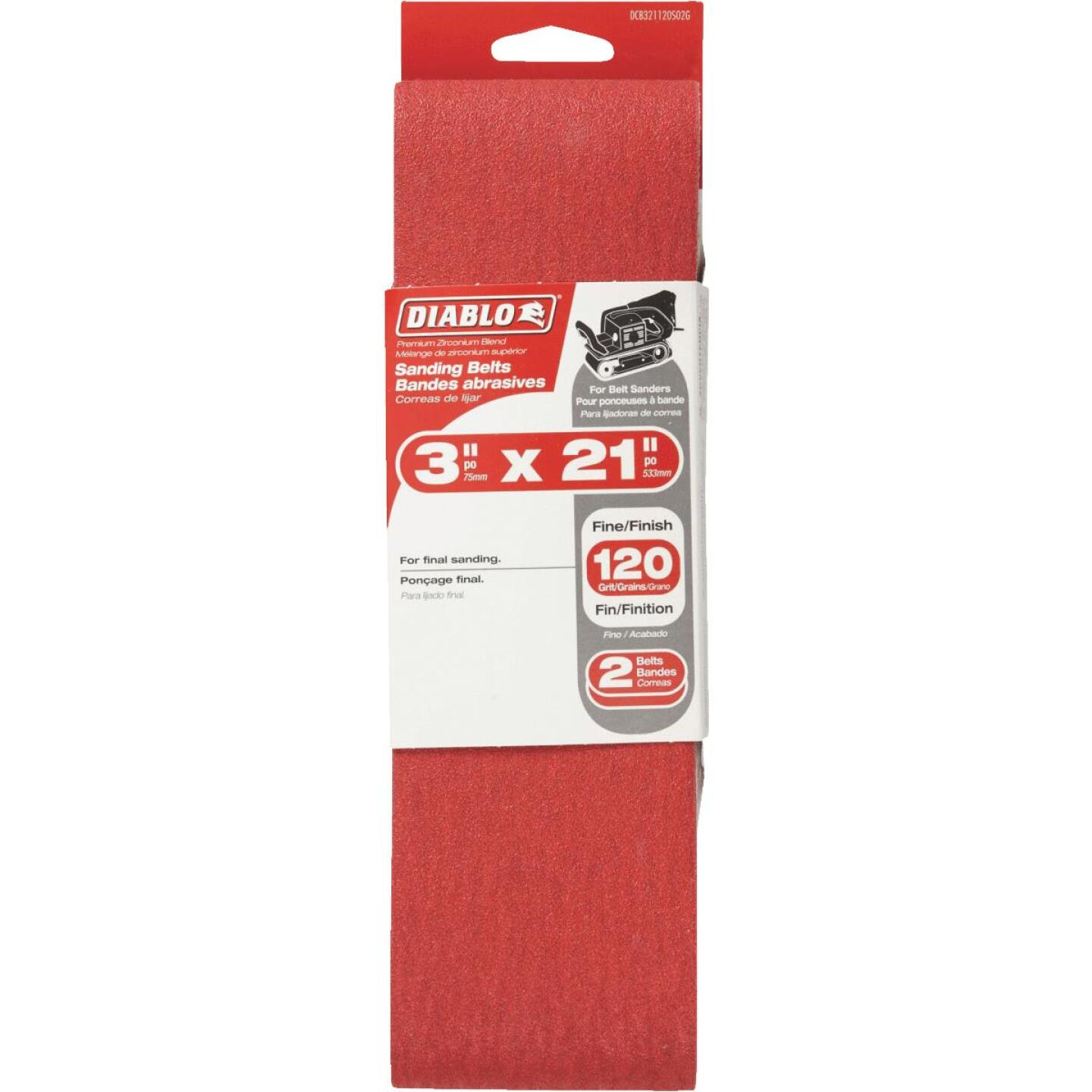 Diablo 3 In. x 21 In. 120 Grit General Purpose Sanding Belt (2-Pack) Image 1