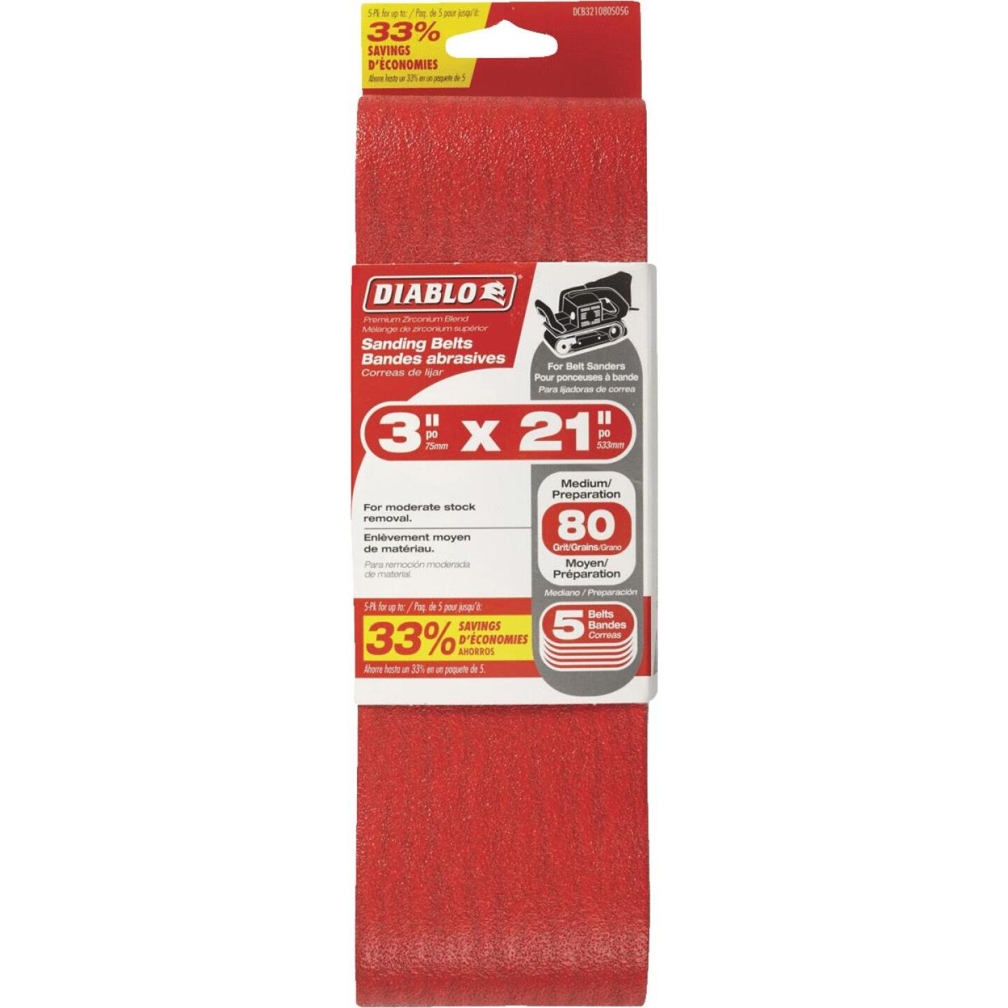 Diablo 3 In. x 21 In. 80 Grit General Purpose Sanding Belt (5-Pack) Image 1