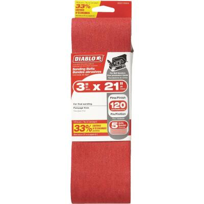 Diablo 3 In. x 21 In. 120 Grit General Purpose Sanding Belt (5-Pack)