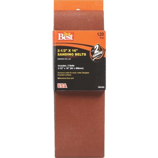 Do it Best 2-1/2 In. x 16 In. 120 Grit Heavy-Duty Sanding Belt (2-Pack)