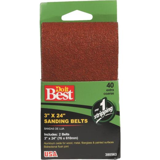 Do it Best 3 In. x 24 In. 40 Grit Heav-Duty Sanding Belt (2-Pack)