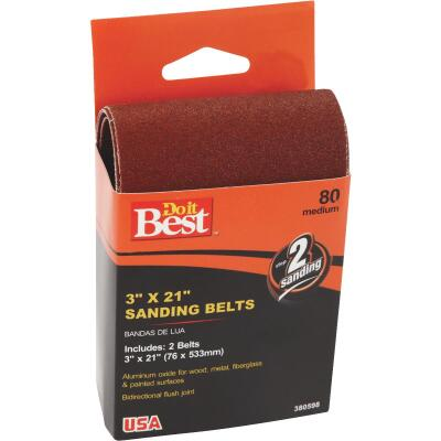Do it Best 3 In. x 21 In. 80 Grit Heavy-Duty Sanding Belt (2-Pack)