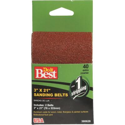 Do it Best 3 In. x 21 In. 50 Grit Heavy-Duty Sanding Belt (2-Pack)