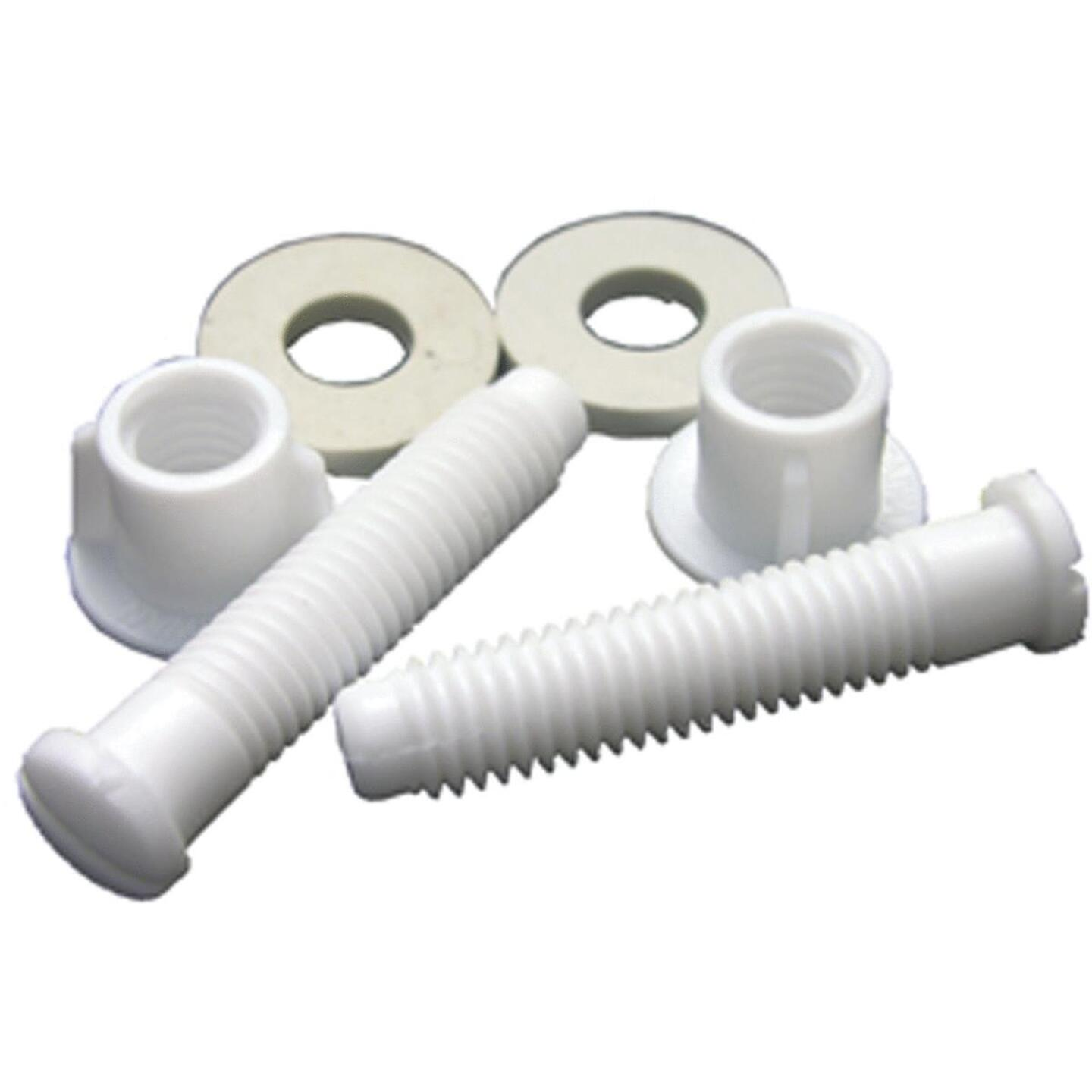 """Lasco 7/17"""" x 2-1/8"""" White Plastic Toilet Seat Bolt, Includes Nuts and Washers Image 1"""