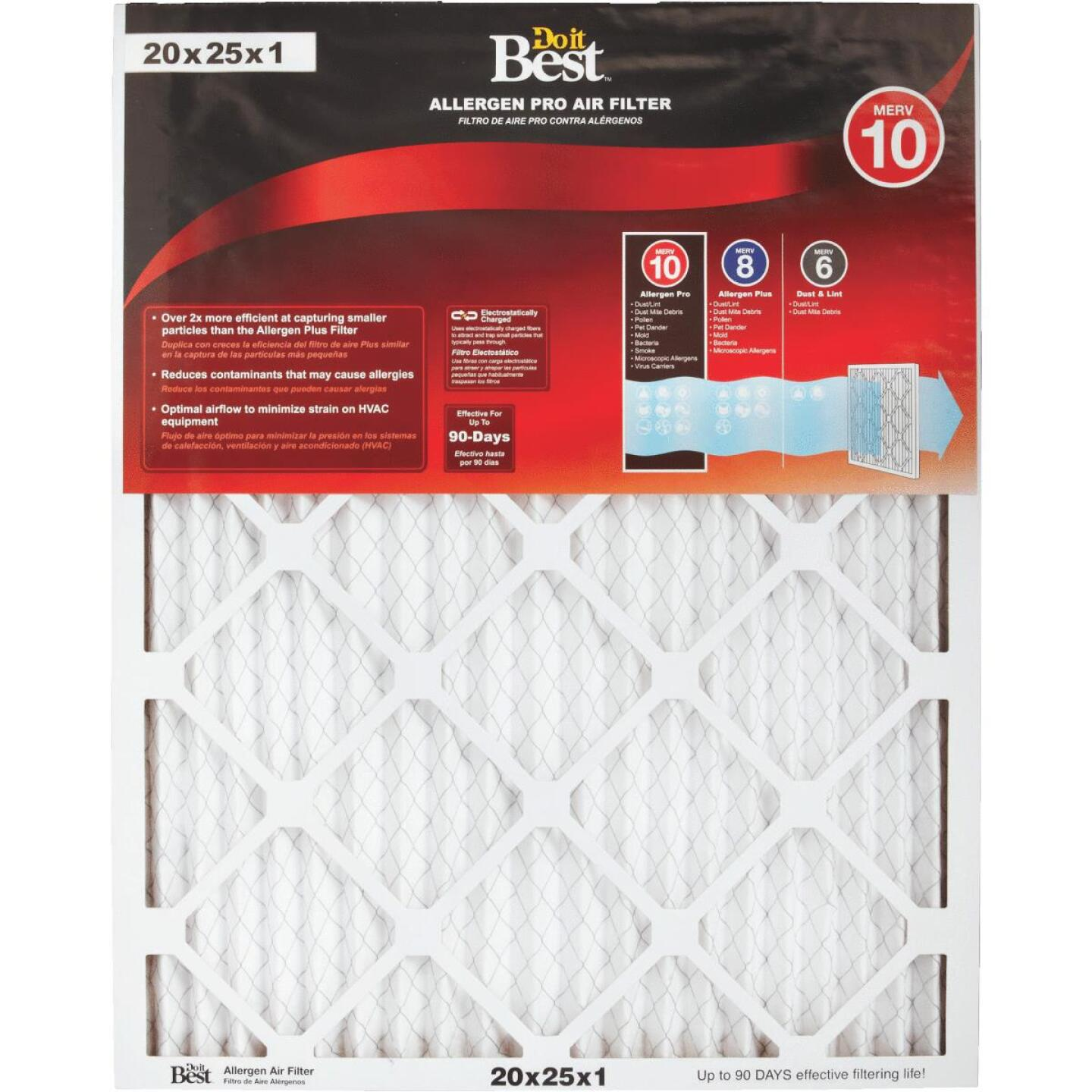 Do it Best 20 In. x 25 In. x 1 In. Allergen Pro MERV 10 Furnace Filter Image 1