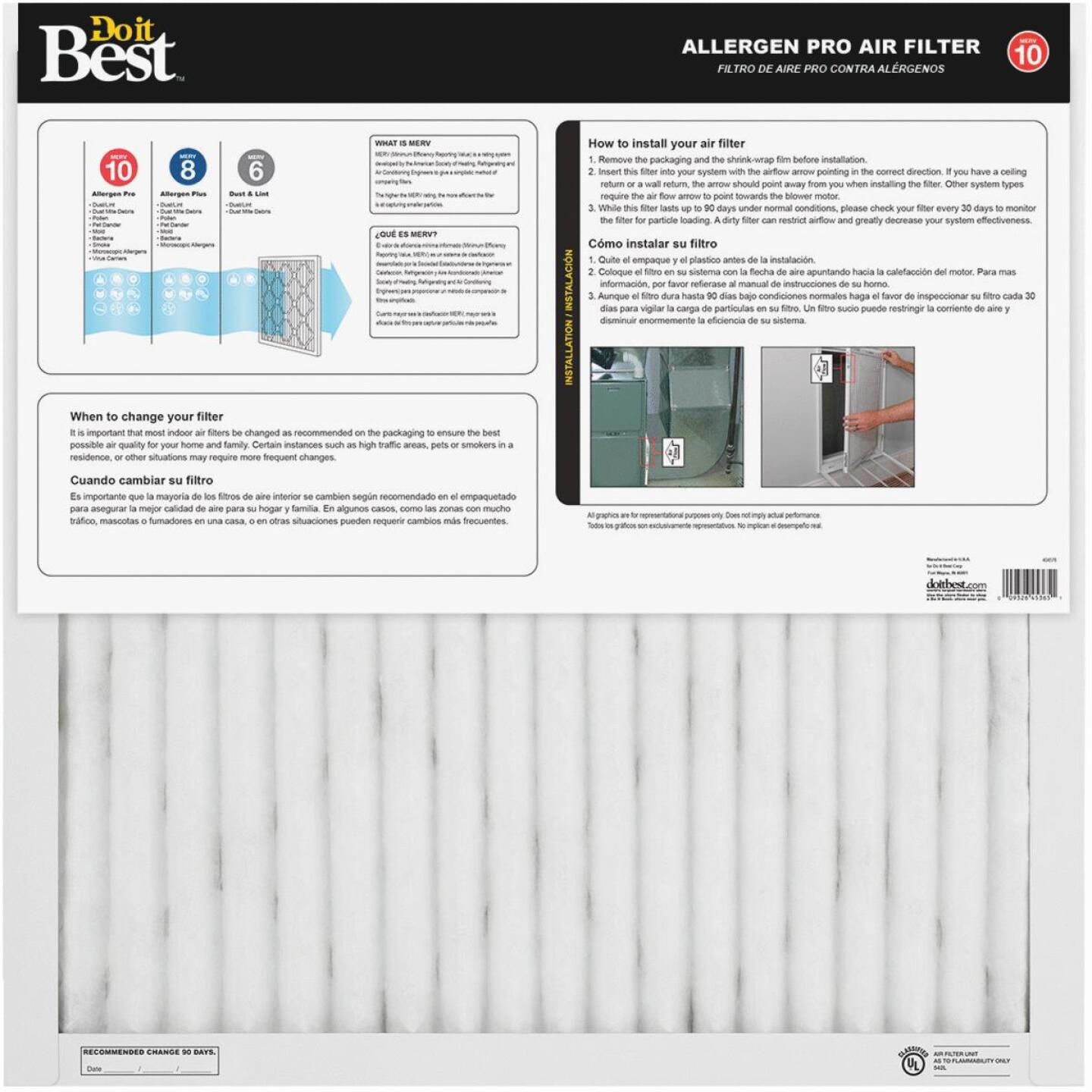 Do it Best 20 In. x 25 In. x 1 In. Allergen Pro MERV 10 Furnace Filter Image 2