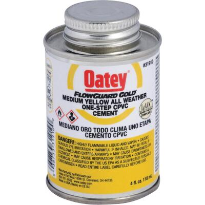 Oatey FlowGuard Gold 4 Oz. Medium Bodied Yellow All Weather One-Step CPVC Cement