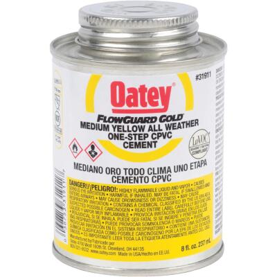 Oatey FlowGuard Gold 8 Oz. Medium Bodied Yellow All Weather One-Step CPVC Cement