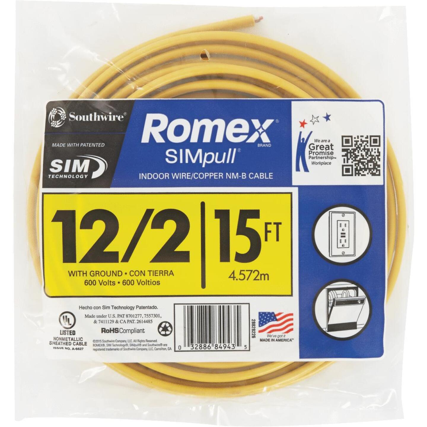 Romex 15 Ft. 12-2 Solid Yellow NMW/G Wire Image 2