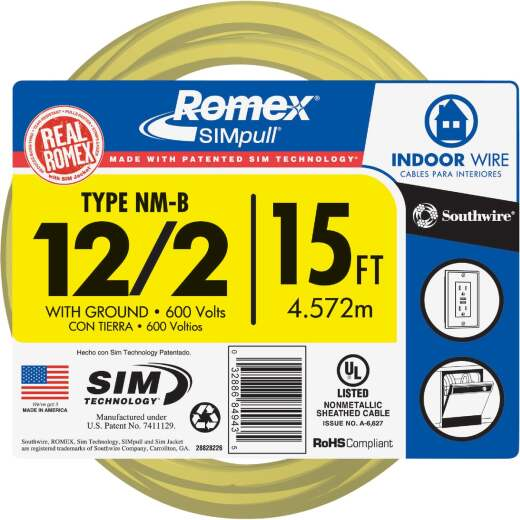 Romex 15 Ft. 12-2 Solid Yellow NMW/G Wire