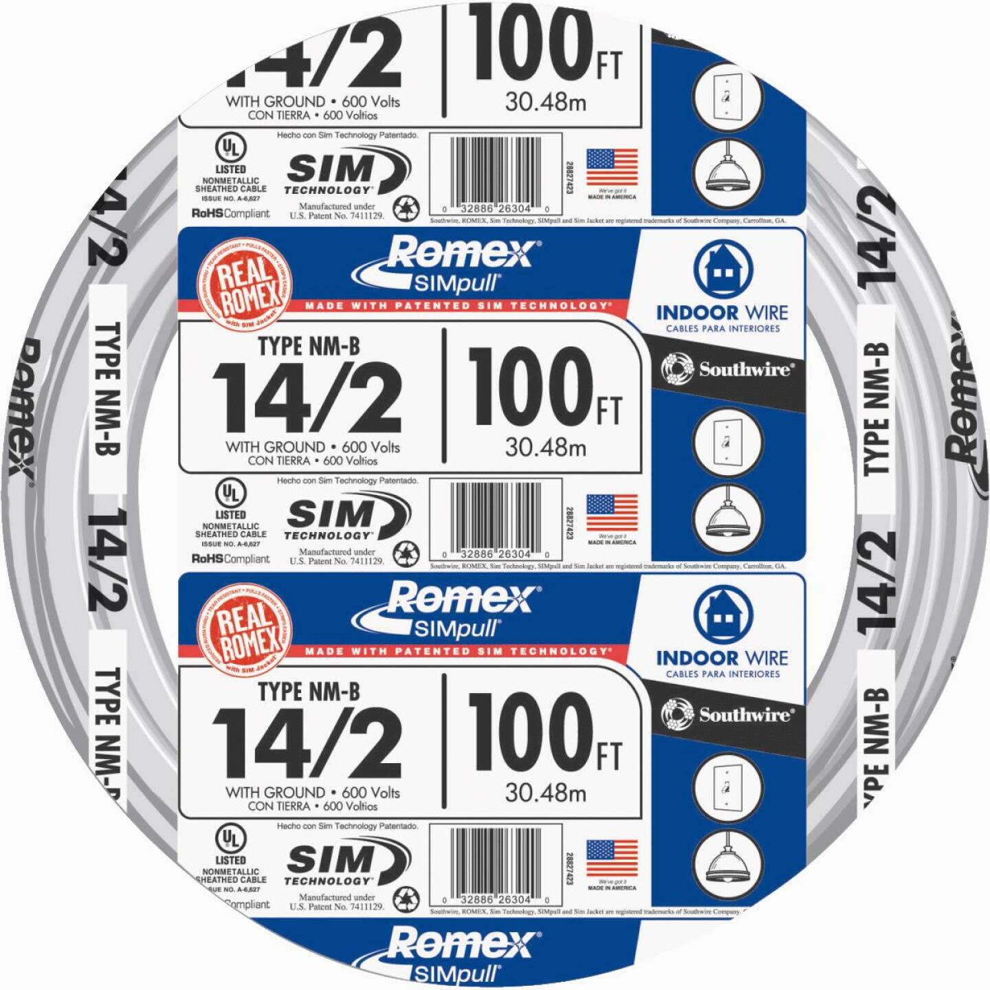 Romex 100 Ft. 14-2 Solid White NMW/G Wire Image 1