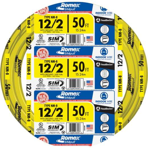 Romex 50 Ft. 12-2 Solid Yellow NMW/G Wire