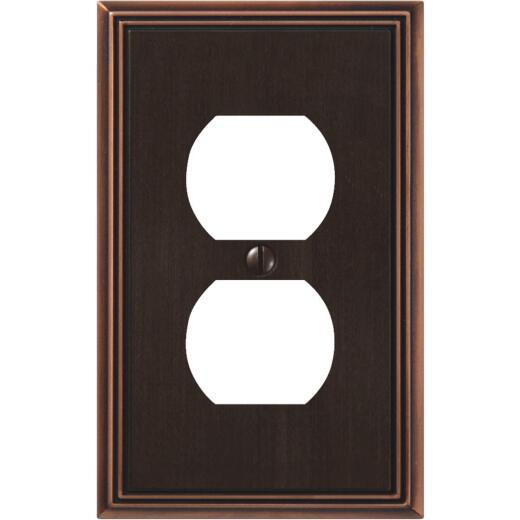 Amerelle Metro Line 1-Gang Cast Metal Outlet Wall Plate, Aged Bronze