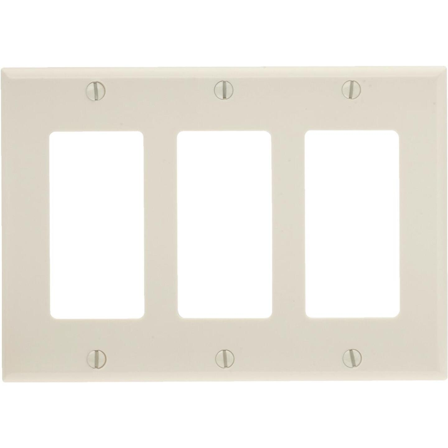 Leviton Decora 3-Gang Smooth Plastic Rocker Decorator Wall Plate, Light Almond Image 1