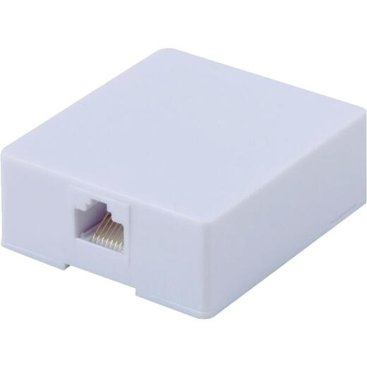 RCA White Surface Mount Plastic Wall Jack