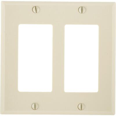 Leviton Decora 2-Gang Smooth Plastic Rocker Decorator Wall Plate, Ivory