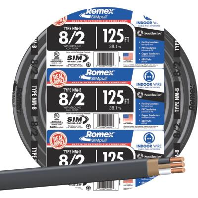 Romex 125 Ft. 8-2 Solid Black NMW/G Wire