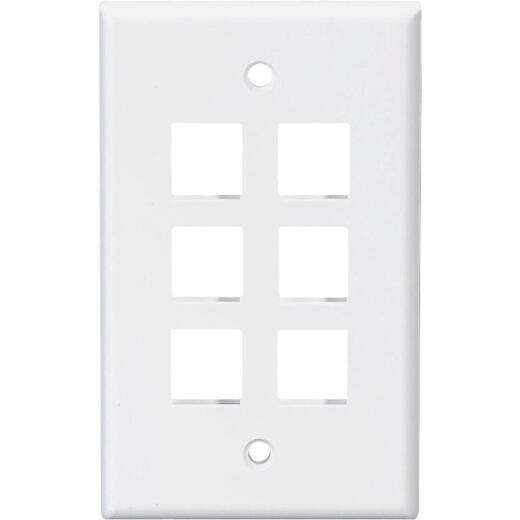 Leviton Quickport 6-Port White Flush Mount Wall Plate