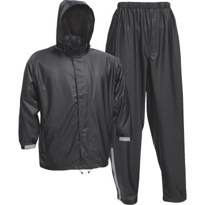 West Chester Large 3-Piece Black Polyester Rain Suit