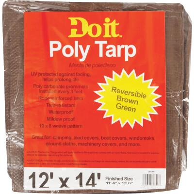 Do it Green/Brown Woven 12 Ft. x 14 Ft. Medium Duty Poly Tarp