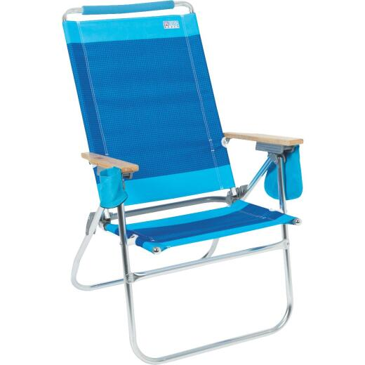 Rio Brands Beach 7-Position Striped Aluminum Folding Beach Chair