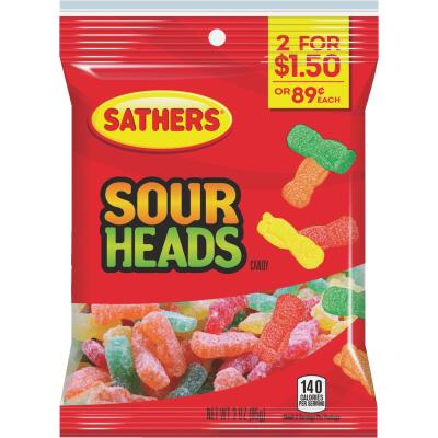 Sathers Assorted Fruit Flavors 3.0 Oz. Sour Heads Candy
