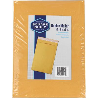 Square Built 6 In. x 9 In. #0 Bubble Mailer (5-Pack)