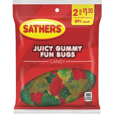 Sathers 2.6 Oz. Assorted Fruit Flavors Juicy Gummy Fun Bugs