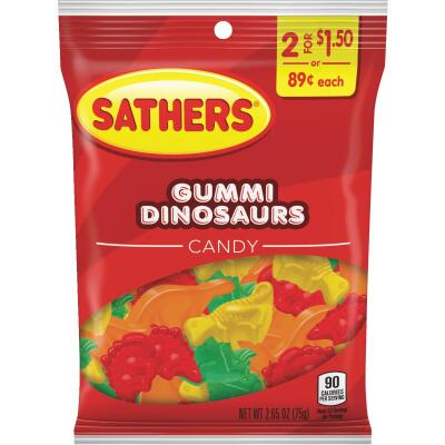Sathers 2.65 Oz. Assorted Fruit Flavors Gummy Dinosaurs